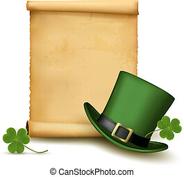 Background with St. Patrick's Day hat with clover. Vector illustration. Vector illustration.