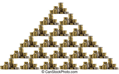 Background with stack of coins arranged in the shape of a triangle. Isolated on a white background.