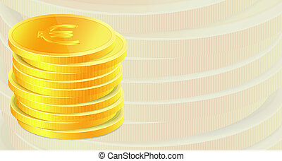 Background with stack of golden coins