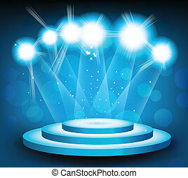 Background with stage and light - Blue background with round...