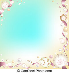 Background with Starfish, Shells and Pink Ribbons -...