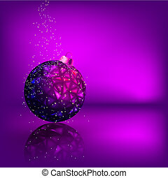 Background with stars and Christmas ball. EPS 8