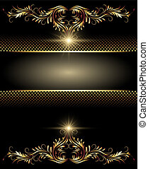 Background with stars and golden ornament