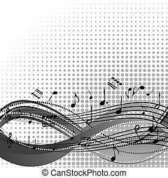 Background with stave and musical notes