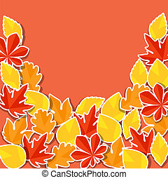 Background with stickers autumn leaves.