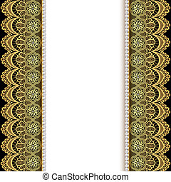 background with stripes of gold lace and pearls -...