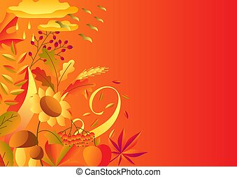 Background with stylized autumn items.