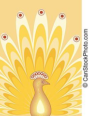 Background with stylized bird. Peacock with rich tail. Yellow illustration.