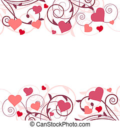 Background with stylized branch and pink hearts