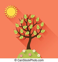 Background with summer tree in flat design style.
