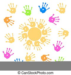 Background with sun and handprints