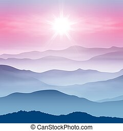 Background with sun and mountains in the fog. EPS10 vector.