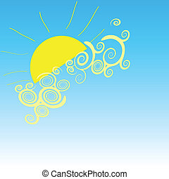 background with sun vector illustration on a blue