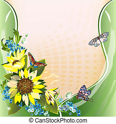 Background with sunflowers, cornflowers and butterflies