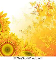 Orange background with sunflowers and butterflies. Clipping Mask.