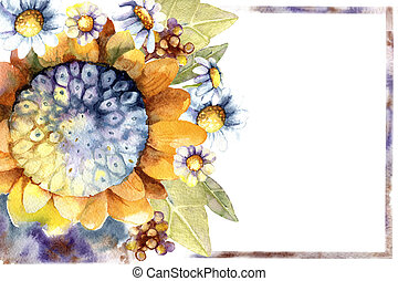 Background with sunny sunflower and daisy flowers and a place for inscription. Hand drawn watercolor illustration for design of business card, wedding, template, invitation, congratulation.
