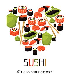 Background with sushi. Japanese traditional cuisine...