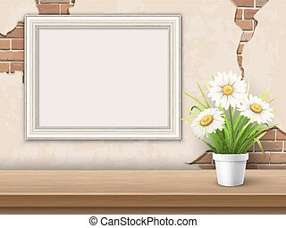 background with table frame and flower
