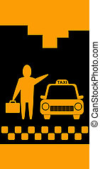 background with taxi and businessma
