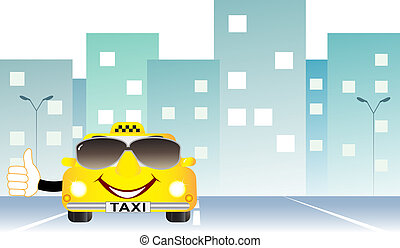 background with taxi on city road