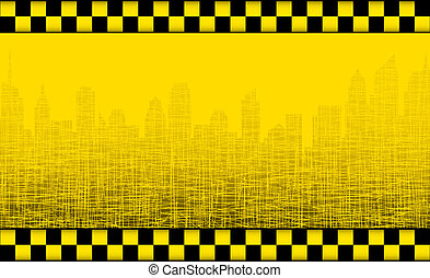 background with taxi sign and city