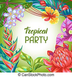 Background with Thailand flowers. Tropical multicolor plants, leaves and buds