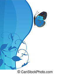 Background with the beautiful butterfly and abstraction as a wave.