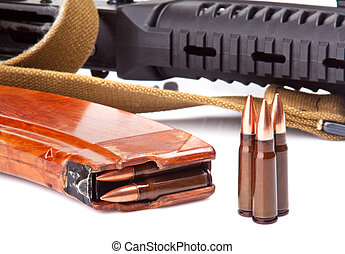 cartridges - background with the cartridges and the AK47