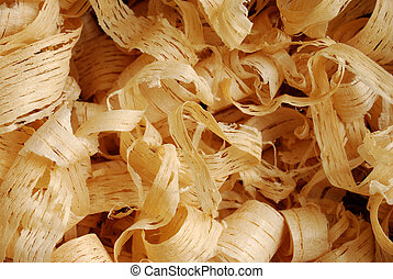 Background with thin wood shavings