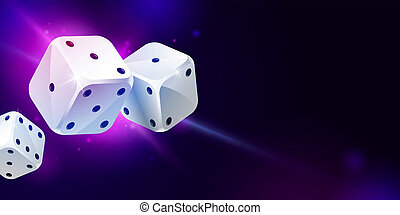 Background with three white game dices. Poker gambling