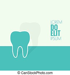 Background with tooth. flat shadow. Symbol for dental...