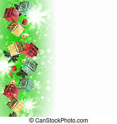 Background with traditional Christmas decoration -...