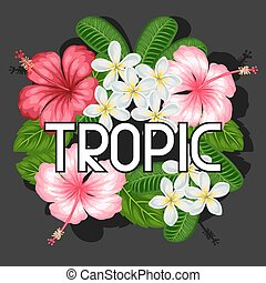 Background with tropical flowers hibiscus and plumeria. Image for design on t-shirts, prints, invitations, greeting cards, posters