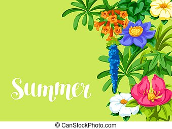 Background with tropical flowers. Exotic tropical plants.