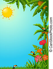 Background with tropical plants and