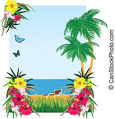 Background with tropical plants sea and beach