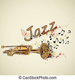 Background with trumpet and notes - Music abstract...