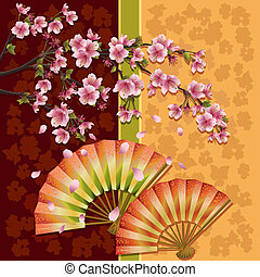 Background with two fans and sakura - Japanese ornamental...