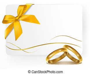Background with two gold wedding rings. Vector illustration.