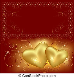 Background with two golden hearts. Place for text