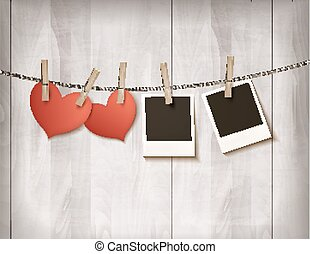 Background with two hearts and two photos. Valentine's day vector.