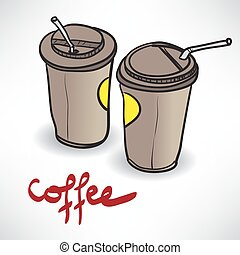 Background with two takeaway coffee cup with space for text