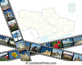Background with ukrainian travel shots ,map and gerb
