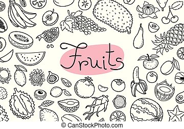 Background with various fruits and an inscription for menu design, recipes and product packaging. Vector illustration