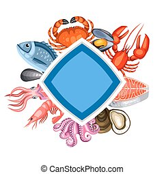 Background with various seafood. Illustration of fish, shellfish and crustaceans