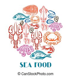 Background with various seafood. Illustration of fish, ...