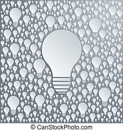 Background with vector light bulbs