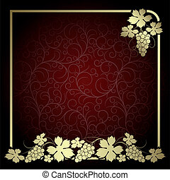 Background with vine - Claret background with frame from ...