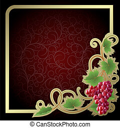 Background with vine - Claret background with gold frame and...
