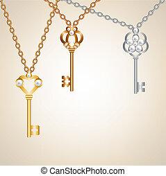 Background with vintage skeleton keys with pearls